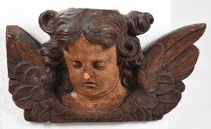 Carved Oak Figural Cherub Wall Plaque