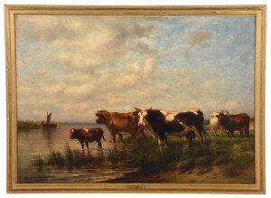 J. Carlton Wiggins, cows by riverside with ship