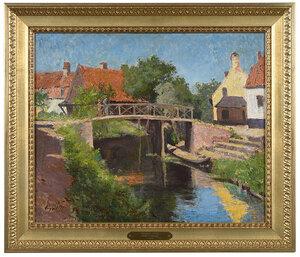 bridge over canal, oil on canvas