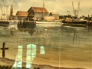 harbor scene, watercolor(?)