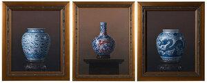Chinese blue and white vase, bat decoration