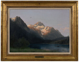 Herzog mountainside and lake, oil on canvas
