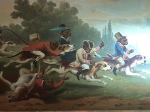George van Arden, two monkey steeplechase/hunt scenes