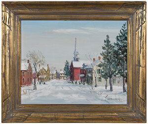 W.E. Baum town snowscape and church, oil on canvas