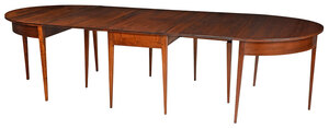 Federal Style Walnut Three Part Dining Table