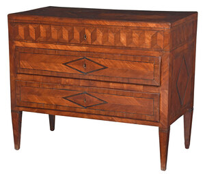Italian Neoclassical Inlaid Fruitwood Commode