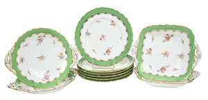 Group of Ten Coalport Green and Gilt Dishes