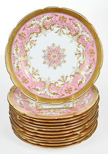 12 Mintons Pink and Raised Gilt Dessert Plates