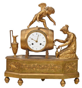 French Gilt Bronze Figural Mantel Clock