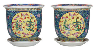 Pair of Chinese Porcelain Cachepots