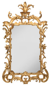 Chinese Chippendale Finely Carved Gilt Mirror