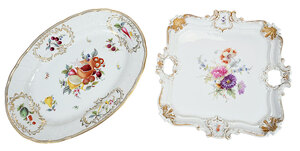 Two Large Meissen Hand Painted Serving Pieces