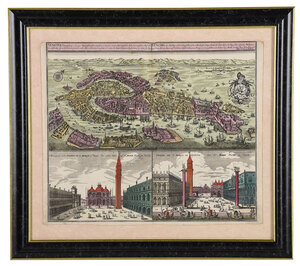 Seutter - Map of Venice and Piazza de San Marco