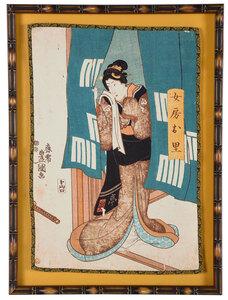 Framed Japanese Screen Print on Fabric