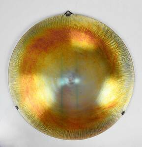Large Round Gold Iridescent Glass Plaque