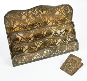 Tiffany Gilt Bronze Letter Rack and Desk Clip