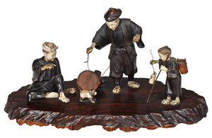 Japanese Bronze and Ivory Figural Group