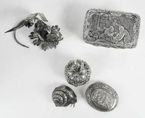 Five Silver Boxes and Figures