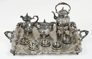 Miniature Silver Tea Set with Tray