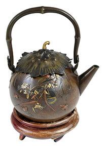 Japanese Aesthetic Movement Mixed Metals Teapot