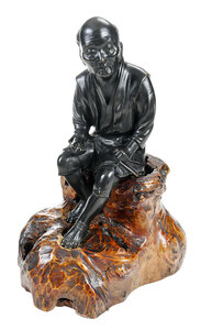 Japanese Seated Bronze Figure on Root Base