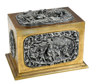 Bronze Jewelry Casket with Silver Relief Panels