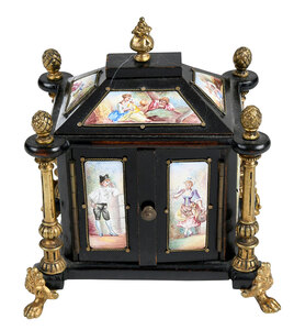 Viennese Ebonized and Enamel Miniature Cabinet
