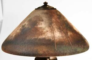 Handel Lamp with Signed Henry Bedigie Shade