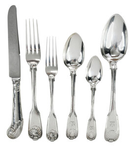 Georgian English Silver Flatware, 62 Pieces