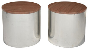 Pair Contemporary Aluminum and Stone Top Tables