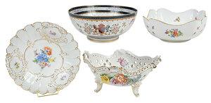 Four Floral Decorated Porcelain Serving Pieces