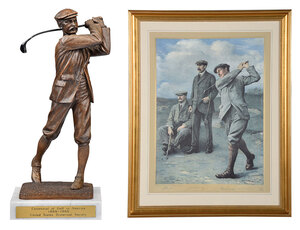 Great Triumvirate Golf Print, Associated Statue