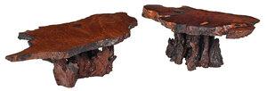 Pair of Burlwood Free Edge Low Tables