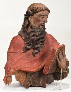 Large Carved and Polychromed Santos Bust