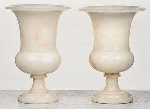 Pair of Alabaster Urns Mounted as Lamps