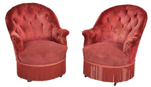 Tufted Velvet Upholstered Club Chairs