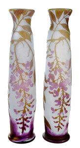 A Pair of Legras Cameo Art Glass Wisteria Vases