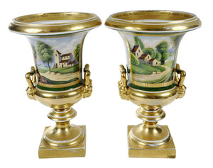 Pair of Paris Porcelain Campana Urn Vases