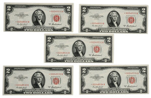 Series 1953A Red Seal Two Dollar Star Notes