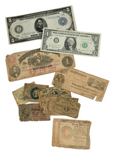 Group of U.S. and Confederate Currency