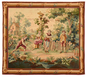 19th Century Lawn Bowling Wool Tapestry