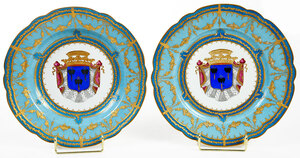 Two Sevres Armorial Porcelain Cabinet Plates