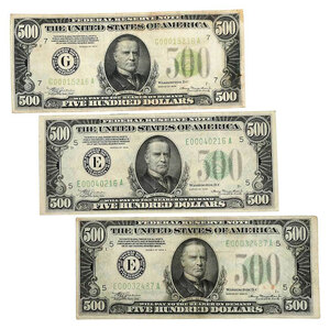 Three $500 Federal Reserve Notes
