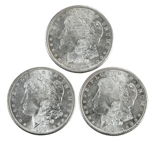 Ten 1881-S Morgan Silver Dollars