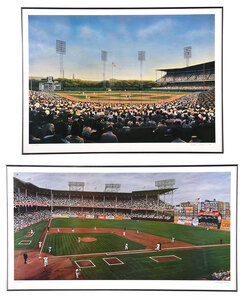 Two Framed Ballpark Scene Lithographs