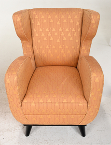 Pair Art Deco Style Yellow Upholstered Armchairs