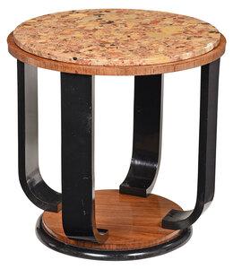 Art Deco Marble Top Walnut Side Table