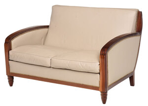 Art Deco/Style Mahogany Leather Upholstered Settee