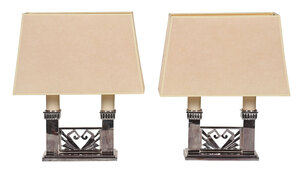 Pair Art Deco Chrome Double Light Table Lamps