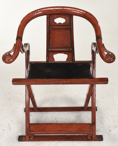 Japanese Red Lacquer Metal Mounted Folding Chair